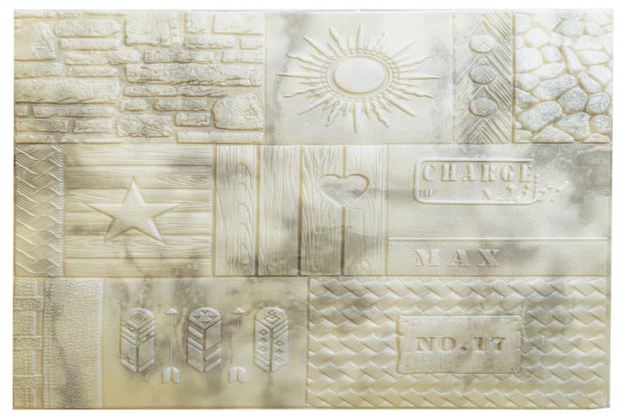 Самоклейка декоративна 3D панель 171 візерунок жовта 700х700х7,5мм купити в Україні - БудБум