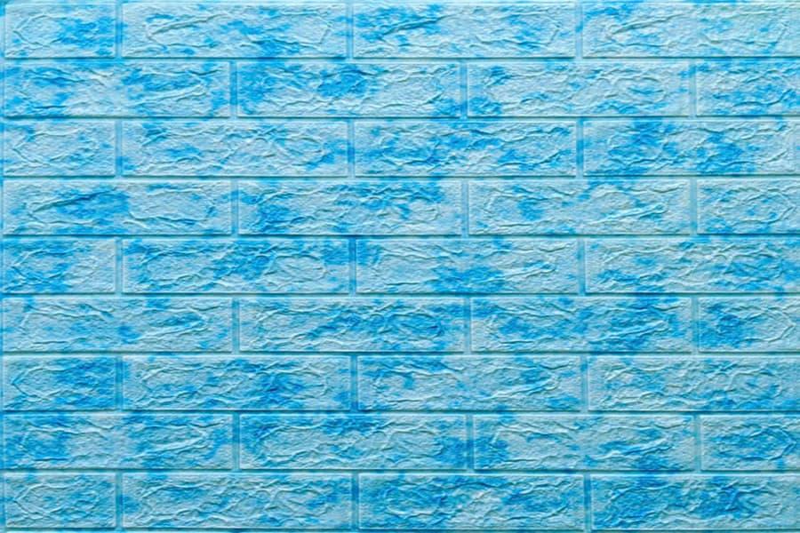 Самоклейка декоративна 3D панель 065 під цеглу блакитний мармур 700x770x5мм купити Київ в Україні - БудБум