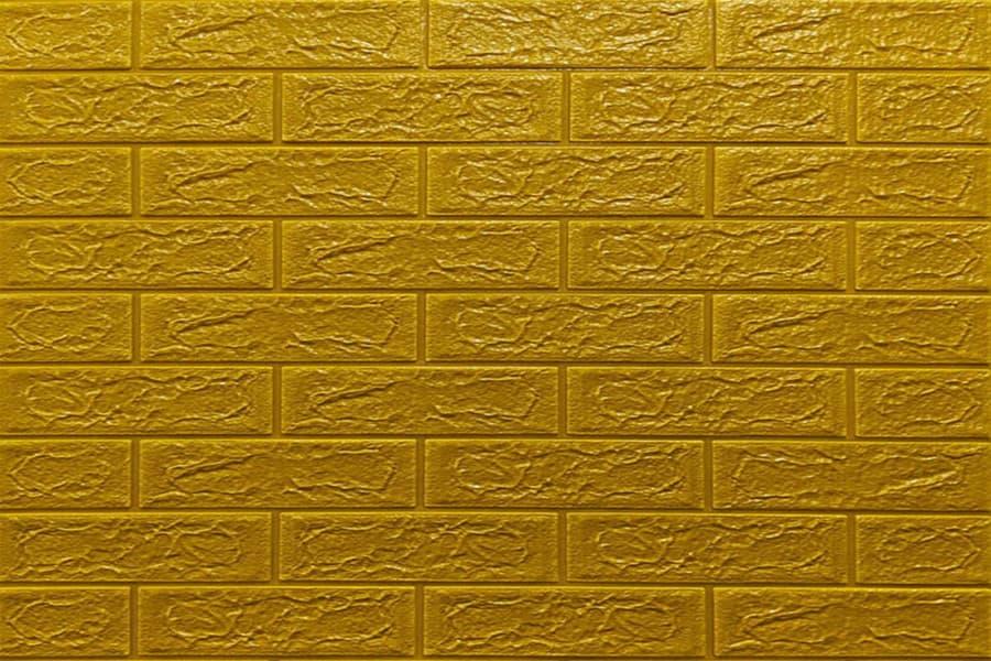 Самоклейка декоративна 3D панель 011-5 під цеглу золото 700x770x5мм купити в Україні - БудБум