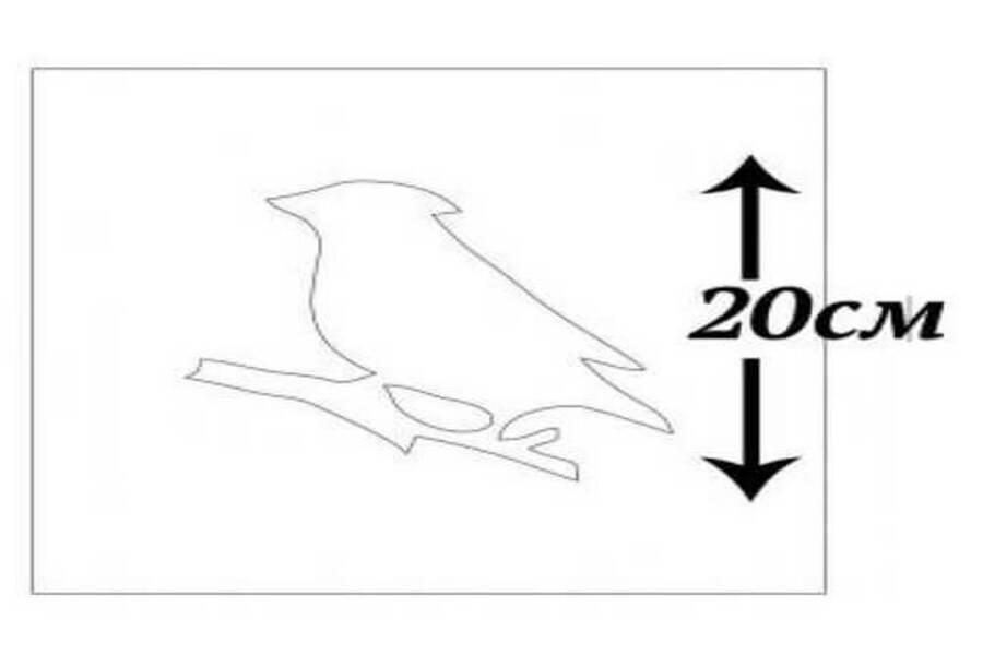 Купити трафарет Синиця 20х20 см, матеріал прозорий пластик.