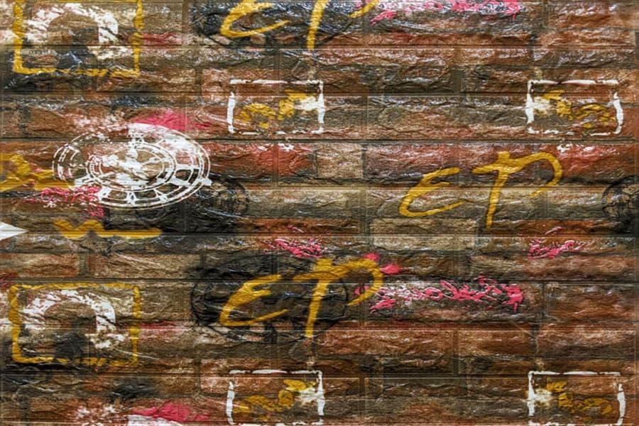 Самоклейка декоративна 3D панель 025 помаранчева цегла графіті 700x770x5мм купити Київ в Україні - БудБум