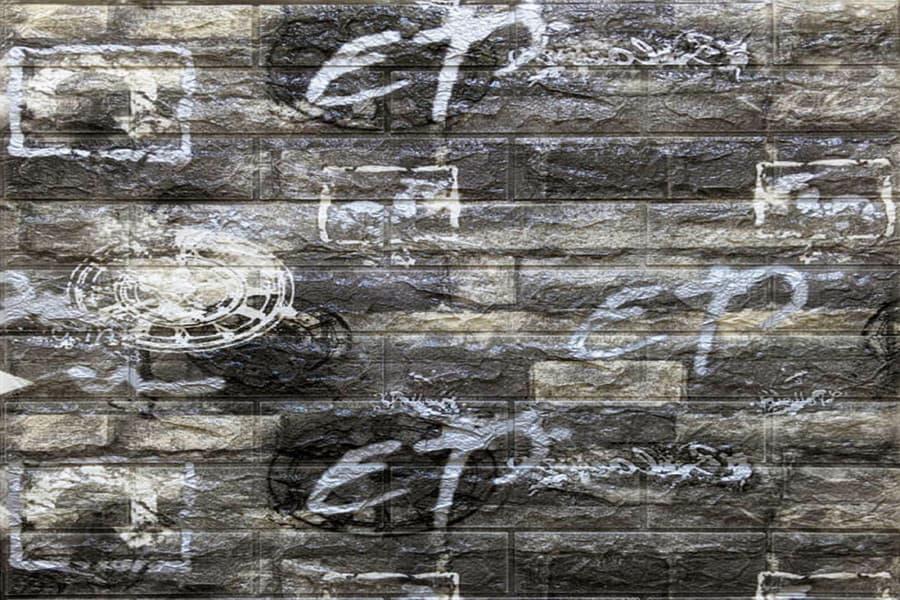 Самоклейка декоративна 3D панель 027 чорний графіті цегла 700x770x5мм купити Київ в Україні - БудБум