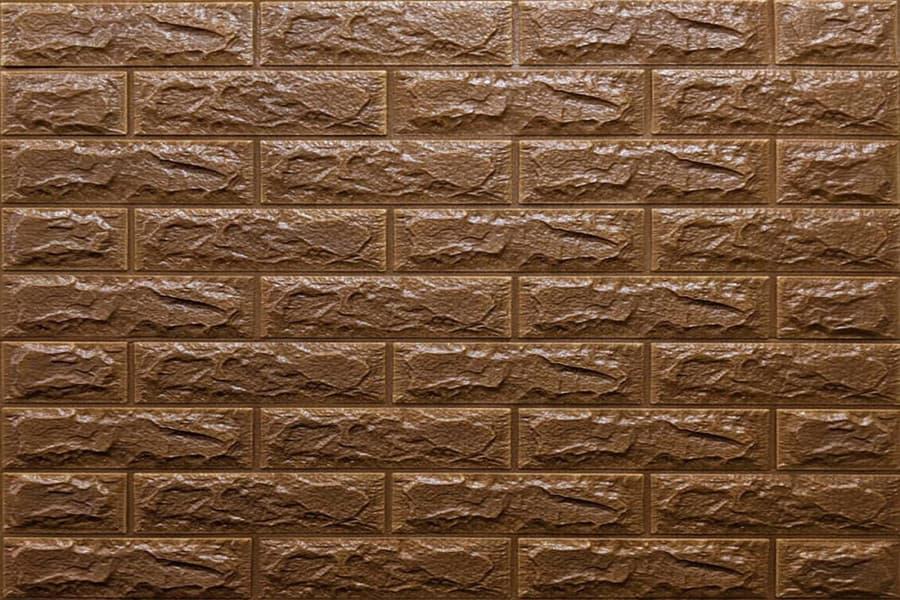 Самоклейка декоративна 3D панель 020-7 під коричневу цеглу 700x770x7мм купити Київ в Україні - БудБум